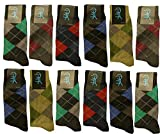 Differenttouch 12 Pairs Mens Argyle Printed Design A9001DM Dress Socks
