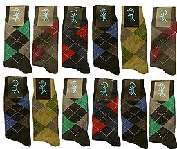 Differenttouch 12 Pairs Men\'s Argyle Printed Design A9001DM Dress Socks