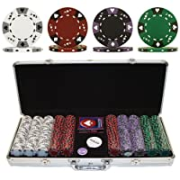 Trademark Poker 500 14-Gram 3 Color Ace-King Suited Poker Chip Set with Aluminum Case by Trademark Poker