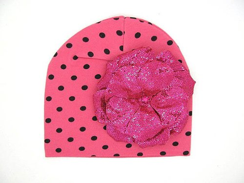 Jamie Rae Candy Pink/Black Dot Knit Hat with Raspberry Sequins Rose