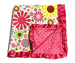 Baby Minky Receiving Blanket - 32 x 32 inches - Cotton Polyester - Flower Power
