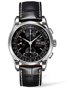 Longines Heritage Men's Quartz Watch with Black Dial Analogue Display and Black Leather Strap L27474524
