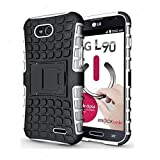 CaseMachinee Flip Kick Stand Hard Dual Armor Hybrid Bumper Back Case Cover For LG L90 D410 Dual Sim - White