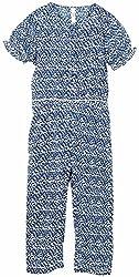 Oye Oye Girls Half Sleeves Printed Jumpsuit - Blue (2-3Y)