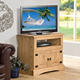 TV Stand Aztec Light Corona Pine Television Cabinet 2 Door Open Shelf Solid Wood