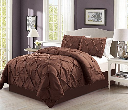 4 pieces solid brown pinch pleat goose down alternative comforter set king size bedding home for Home design down alternative color king comforter