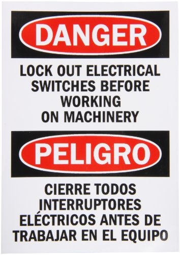 "Smartsign Adhesive Vinyl Osha Safety Sign, Legend ""Danger: Lock Out Electrical Switches"", 7"" High X 5"" Wide, Black/Red On White"
