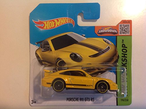 Hot Wheels Short Card HW Workshop Porsche 911 GT3 RS Yellow #196/250 - 1
