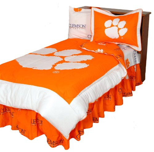 Clemson Tigers (3) Piece QUEEN Size Reversible Comforter Set - Includes: (1) QUEEN Size Reversible Comforter and (2) Pillow Shams - Save Big By Bundling! at Amazon.com