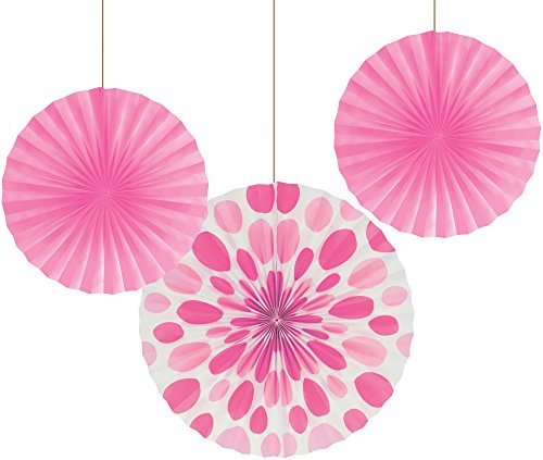 "Creative Converting 3 Count Solid and Polka Dots Paper Fans, 12""/16"", Candy Pink"