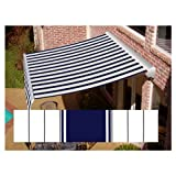 Awntech 14-ft Wide x 10-ft 2-in Projection Navy/Gray/White Striped Slope Patio Retractable Remote Control Awning