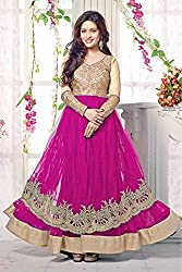 Bollywood Riya Sen Net Party Wear Anarkali Suit in Pink Colour