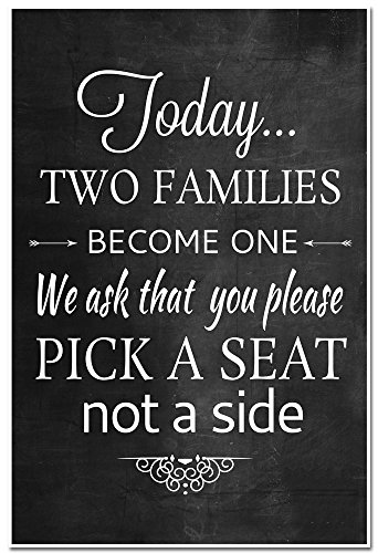 Today Two Families Become One We ask that you please Pick a Seat Not a Side Wedding Sign - Chalkboard or any color (Pick A Side Sign compare prices)
