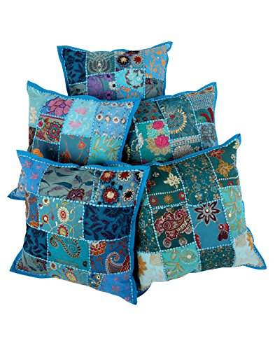 Set Trendy 5 floreale turchese 16X16 Cotton Patch di lavoro