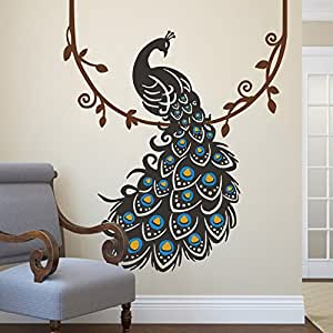 Peacock wall decal peafowl wall sticker animal for Home decorations amazon