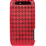 RED ARGYLE Translucent Flexible TPU Case for Motorola Droid Razr 4G + 4.5 INCHES Screen/Lens Cleaning Cloth