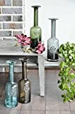 CASAMOTION Long Narrow Neck Tall Bottle Shape Hand Blown Glass Vase, Gift Boxed, Smoke, 14 Inches