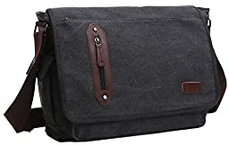 ZUOLUNDUO Vintage Canvas Laptop Messenger Bag School Bag Business Briefcase AAA8802DJ4,Black4