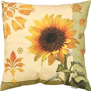 Amazon com home decor sunflower indoor outdoor pillow 18 quot square