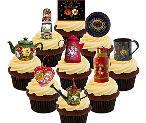Canal-Ware-Roses-and-Castles-Party-Pack-Edible-Cake-Decorations-Stand-up-Wafer-Cupcake-Toppers
