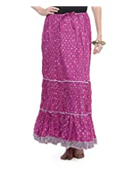 Soundarya Women Cotton Skirts -Purple -Free Size