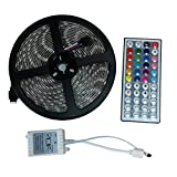 Jewelvwatchro(TM)LED Strip Lights SMD 5050 16.4 Ft (5M) RGB 60LED/M RGB Flexible Rope Lighting Waterproof Tape Lights +44 Key IR Remote Controler for Indoor And Outdoor Decoration