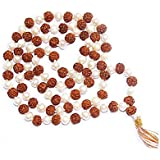 Divya Shakti Natural Rudraksha & Pearl Mala 8mm Beads - 108+1 Beads Japa / Rosary Rudraksh + Moti Mala ( Spiritual...