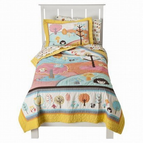 Circo Love & Nature Stitched Full Quilt & Shams Set Yellow Blue Owls Comforter front-1071523