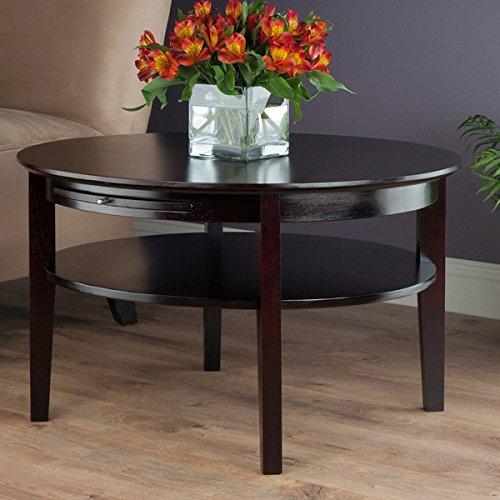 Benbrook Dark Espresso Round Coffee Table with Pull Out Tray (Espresso Round Coffee compare prices)