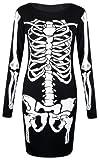 Fast Fashion Damen Kleiden Skeletts Druck (EUR (40-42), Bodycon Kleid)