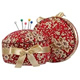 NEOVIVA Pincushions for Sewing with Wristband, Cute Wrist Pin Cushion for Daily Needlework, Style Cupcake, Pack of 2, Floral Mandarin Red Blossom (Color: Cupcake Mandarin Red Blossom)