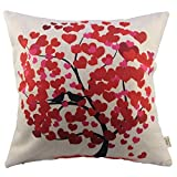 HOSL Cotton Linen Square Decorative Throw Pillow Case Cushion Cover Red Life Tree for Auto Seat 17.3*17.3 Inch(44CM*44CM)