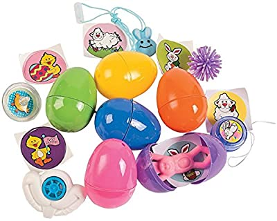 100 Toy Filled Hinged Bright Easter Eggs, Measure 2.5 Inches; Toys Include Vinyl Smile-face Bunny Necklace, Bunny Teeth Whistle, Mini Porcupine Ball, Easter Yo-yo, Easter Spin Top, or Easter Stretchy Flinger. from Fun Express