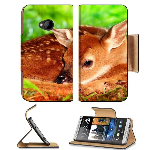 Deer Baby Bambi Rest Sleep Htc One M7 Flip Cover Case With Card Holder Customized Made To Order Support Ready Premium Deluxe Pu Leather 5 11/16 Inch (145Mm) X 2 15/16 Inch (75Mm) X 9/16 Inch (14Mm) Liil Htc One Professional Cases Accessories Open Camera H front-52756
