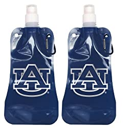 NCAA Auburn Tigers 2-Pack Foldable Water Bottle, Clear