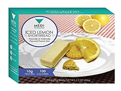 Medi-Weightloss Iced Lemon Shortbread Protein Bars - High Protein (10g) - 100 Calories - For Hunger Control During Diet/Weight Loss - 7 Bars Per Box