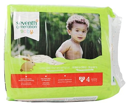 Seventh Generation Baby Free and Clear Diapers Stage 4: 22-37 lbs -- 27 Diapers (Pack of 2) (7th Generation Stage 4 Diapers compare prices)
