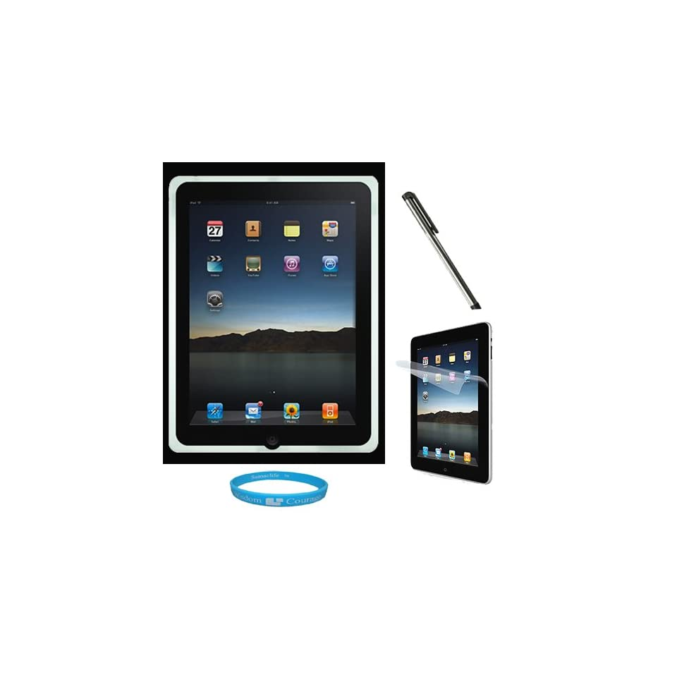 Clear Premium Rubberized Protective Soft Silicone Skin Cover Case for Verizon Wireless New Apple iPad 2 (16GB, 32GB 64GB) 2nd Generation and AT&T Apple iPad 2nd Generation iPad 2 + Clear Anti Glare Clear Screen Protector for Apple iPad 2nd Generation + Sil