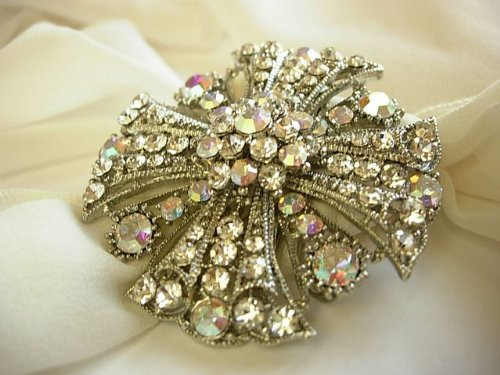 Vintage Style Large Crystal Pin Brooch Broach
