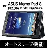 Asus MeMo Pad 8 用 (ME180A) レザーケース &液晶保護フィルム (光沢タイプ)   【オートスリープ機能】【ハンドストラップ】 (memopad8, bk)