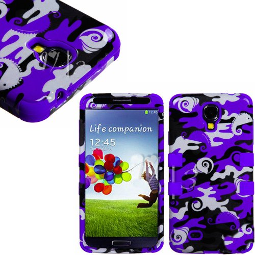 "Mylife (Tm) Indigo - Ocean Camouflage Design (3 Piece Hybrid) Hard And Soft Case For The Samsung Galaxy S4 ""Fits Models: I9500, I9505, Sph-L720, Galaxy S Iv, Sgh-I337, Sch-I545, Sgh-M919, Sch-R970 And Galaxy S4 Lte-A Touch Phone"" (Fitted Front And Back So"