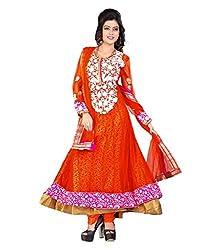 Priyanshu Creation Women's Net Dress Material (Orange)