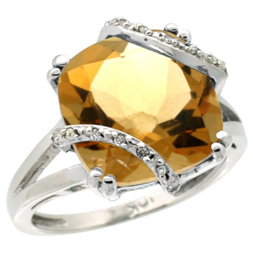 Revoni 14ct White Gold Natural Citrine Ring Cushion-cut 12x12mm Diamond Accent
