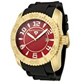 Swiss Legend Men's 20068-YG-05 Commander Collection Yellow Gold Ion-Plated Red Dial Watch