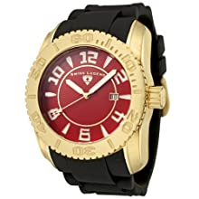 Swiss Legend Men s 20068-YG-05 Commander Collection Yellow Gold Ion-Plated Red Dial Watch