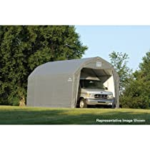 Hot Sale ShelterLogic 12Ft.W Homestead Barn Style Garage - 28ft.L x 12ft.W x 11ft.H, Grey, Model# 90253
