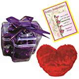 Skylofts Stylish Chocolate Pack With Cute Heart Soft Toy And A Anniversary Card