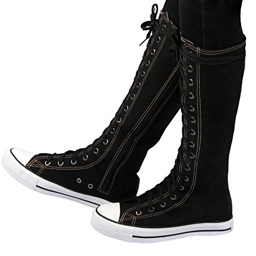 [RioRiva Canvas Combat Boots for Womens Mid-calf Sneakers Lace up Flat Shoes (Us8=24.5cm=uk6, Black No] (Bandit Buckle Black Boots)
