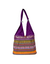 Womaniya Canvas Purple Handbag For Women(Size-32 Cm X 32 Cm X 10 Cm) - B00SJ1K5E8