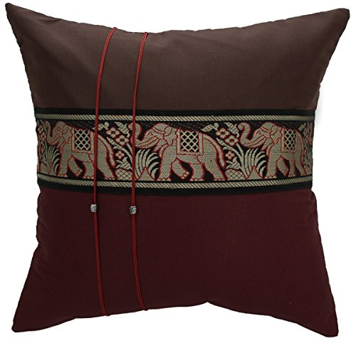 Striped Elephant Throw Pillow Cover Decorative Sofa Couch Cushion Cover Zippered 16x16 Inch Brown Red Maroon By Copter Shop